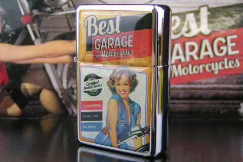 Best Garage Benzinfeuerzeug Pin-up gelb Certified Service