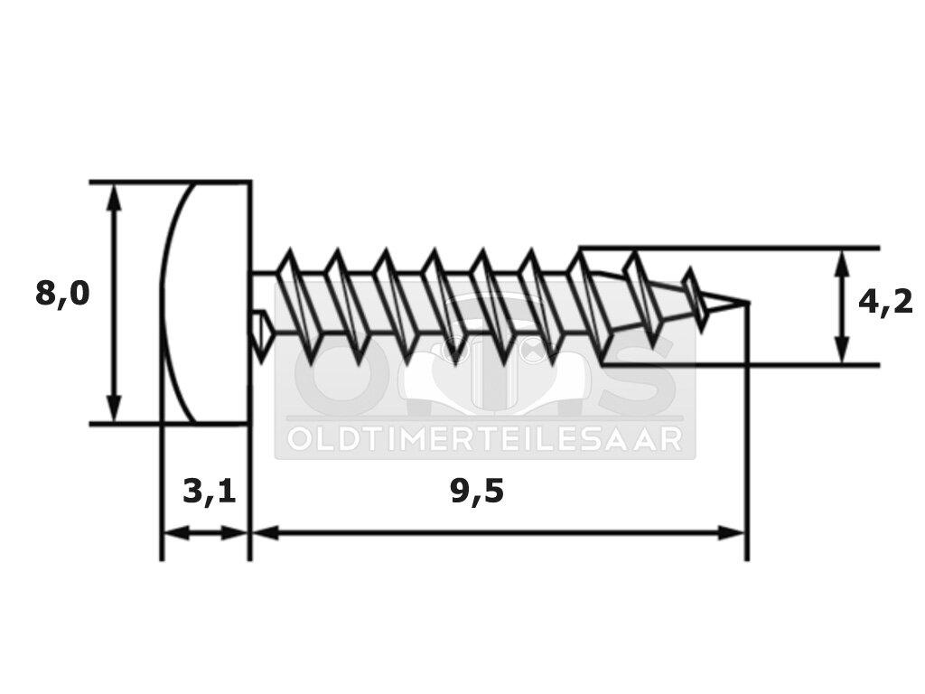 4,2 x 9,5 mm Blechschraube Linsenkopf Philips Kreuzschlitz DIN 7981 sw verzinkt