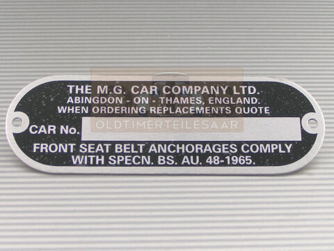MGB MGC Chassis Plate Fahrgestellnummer Aluschild 93x32 mm