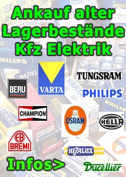 Ankauf alter Lagerbestände Elektrik wie Beru, Bosch, Osram, Philips