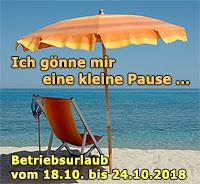 Betriebsurlaub vom 18.10. bis 24.10.2018